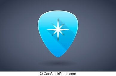 Blue guitar pick icon with a star