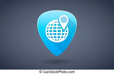 Blue guitar pick icon with a world globe