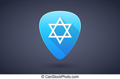 Blue guitar pick icon with a David star