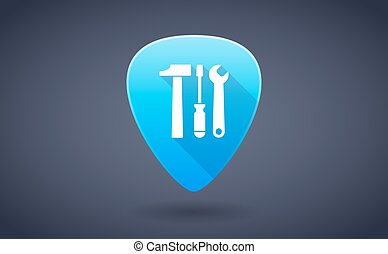 Blue guitar pick icon with a tool set - Illustration of a...