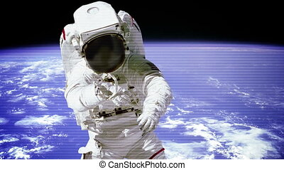 """The astronaut in outer space with bad signal of camera."""
