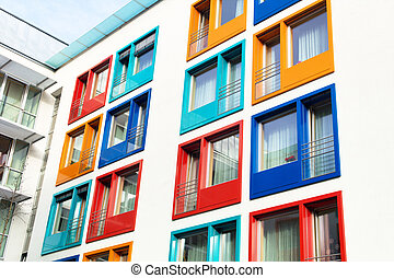 colorful facade of modern apartment building - colorful...