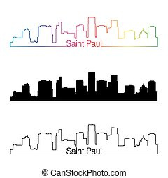 Saint Paul skyline linear style with rainbow in editable...
