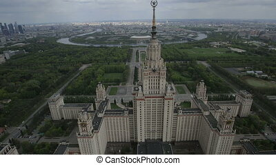 Moscow State University named after Mikhail Lomonosov, aerial view