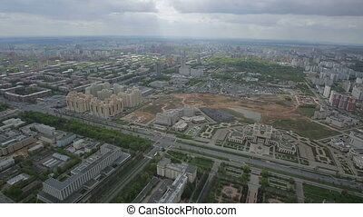 panorama of Moscow from the height of bird flight, aerial...