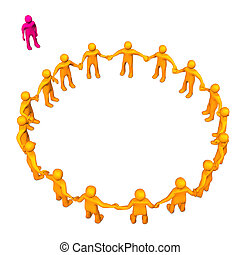 Outsider - Orange toons in a circle with a pink outsider...