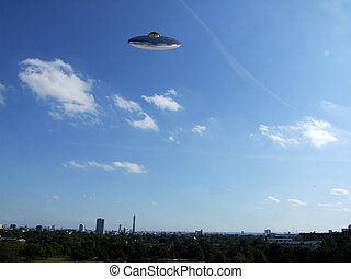 UFO Over London - A UFO hovering over the London skyline.