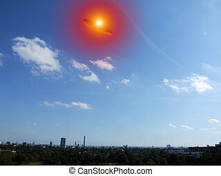UFO Over London - A UFO hovering over the London skyline