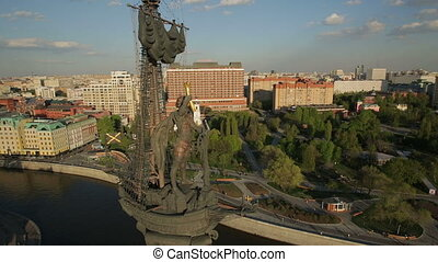 Monument to Peter the Great in Moscow, aerial view