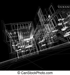 Wire frame building - 3D rendering of a transparent building...