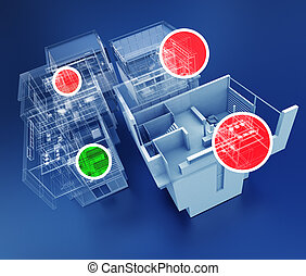 Building control - 3D rendering of building monitoring...
