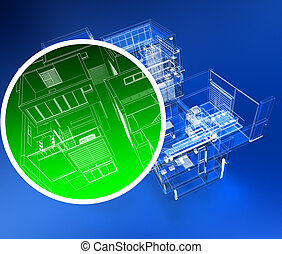 Building monitoring - 3D rendering of a building with a...