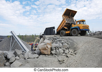stone quarry - making of crushed stone at stone quarry...
