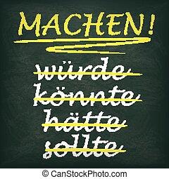 Quadratic Blackboard Motivation Machen - German text...