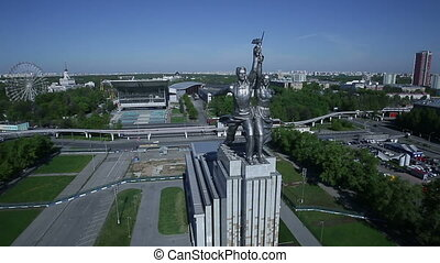 Monument Worker and Kolkhoz Woman in Moscow Russia, aerial...