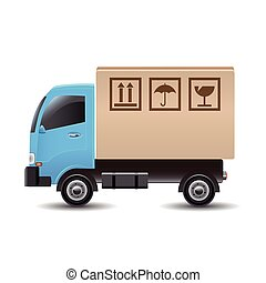Delivery truck with a cardboard box