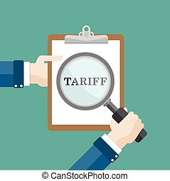 Flat Hand Loupe Clipboard Tariff - Human hand with a loupe...