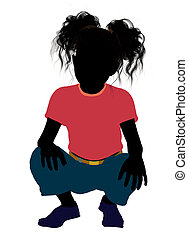 African American Girl Illustration Silhouette