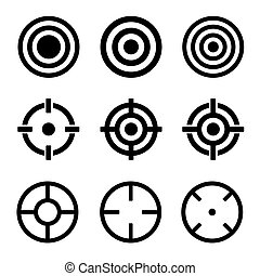 Target Icons Set on White Background. Vector