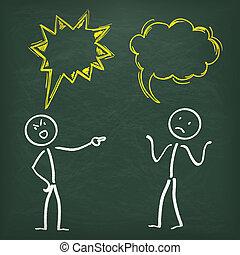 Blackboard Stickman 2 Allegation Speech Bubbles - Blackboard...
