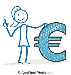 Stickwoman Dollar Okay - Stickwoman with Euro on the white...