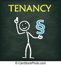 Blackboard Stickman Paragraph Tenancy - Blackboard with...
