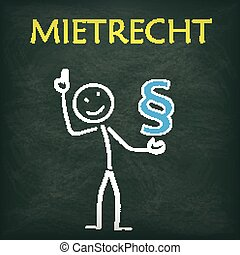 Blackboard Stickman Paragraph Mietrecht - Blackboard with...