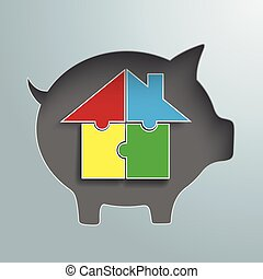 Piggy Bank Hole House Puzzle - Piggy bank with colored...