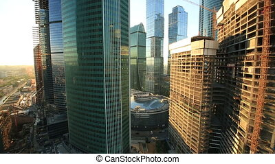 Moscow City skyscrapers, aerial view