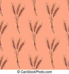 Sketch wheat bran in vintage style, vector seamless pattern