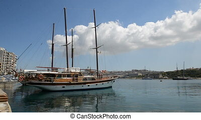 The view on Valletta and sail yacht, Sliema, Malta