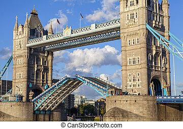 Close-up of an Open Tower Bridge - A close-up shot of an...