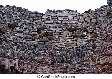 The texture of the destroyed stone wall - Estate the Fifth...