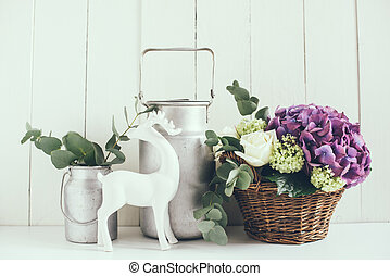 rustic home decor - Big bouquet of fresh flowers, purple...