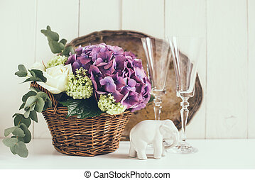 rustic wedding decor - Big bouquet of fresh flowers, purple...