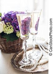 vintage wedding decor - Big bouquet of fresh flowers, purple...