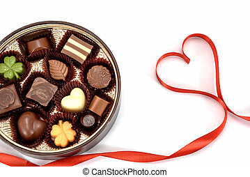 Chocolate gift and Red heart ribbon on white background