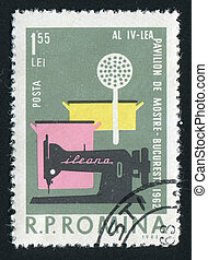 postmark - ROMANIA - CIRCA 1962: Household goods sewing...