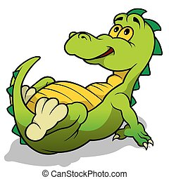 Green Dino Laying - Cartoon Illustration, Vector