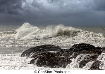 Seascape - Big waves crashing against rocks from the west...