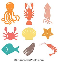 Seafood icons. Sea life. Vector illustration