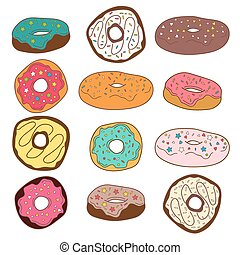 Set of cute colorful donuts