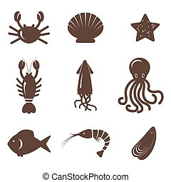 Vector set of seafood icons