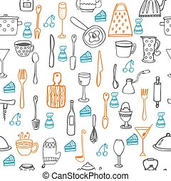 Cute seamless pattern with kitchen equipments