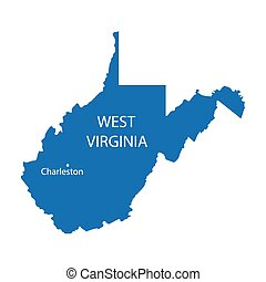 blue map of West Virginia with indication of Charleston