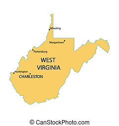 yellow map of West Virginia with indication of largest cities