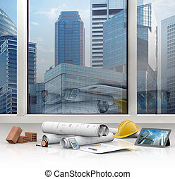 designing buildings - architect office with views of the...
