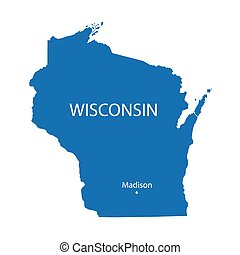 blue map of Wisconsin with indication of Madison