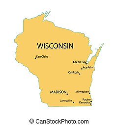 yellow map of Wisconsin with indication of largest cities