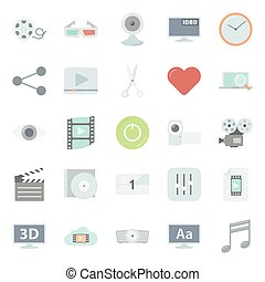 Video flat icons set vector graphic illustration design